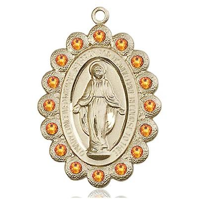Miraculous Medal - 14K Gold - 1-1/8 Inch Tall by 3/4 Inch Wide
