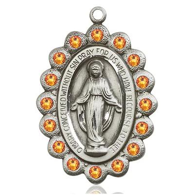 Miraculous Medal - Sterling Silver - 1-1/8 Inch Tall by 3/4 Inch Wide