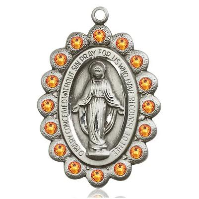 "Miraculous Medal Necklace - Sterling Silver - 1-1/8 Inch Tall by 3/4 Inch Wide with 18"" Chain"
