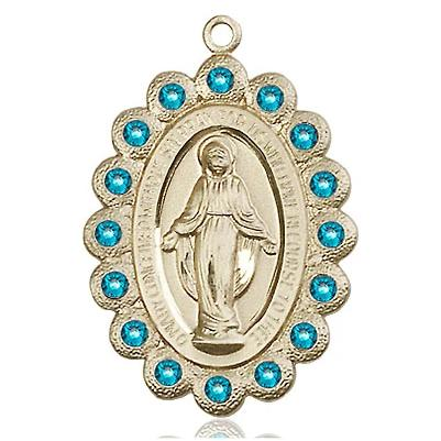 Miraculous Medal - 14K Gold Filled - 1-1/8 Inch Tall by 3/4 Inch Wide