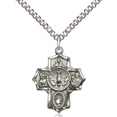 "5 Way Medal Necklace - Sterling Silver - 7/8 Inch Tall by 5/8 Inch Wide with 24"" Chain"