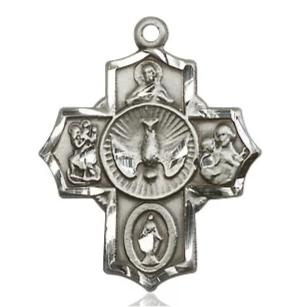 5 Way Medal - Sterling Silver - 7/8 Inch Tall x 5/8 Inch Wide