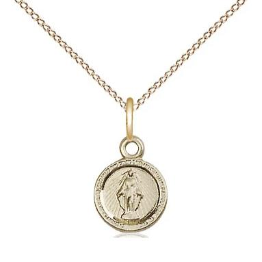 "Miraculous Medal Necklace - 14K Gold Filled - 3/8 Inch Tall by 1/4 Inch Wide with 18"" Chain"