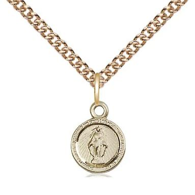 "Miraculous Medal Necklace - 14K Gold Filled - 3/8 Inch Tall by 1/4 Inch Wide with 24"" Chain"