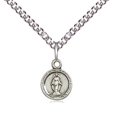 "Miraculous Medal Necklace - Sterling Silver - 3/8 Inch Tall by 1/4 Inch Wide with 24"" Chain"