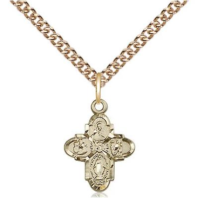 "4 Way Medal Necklace - 14K Gold - 5/8 Inch Tall by 3/8 Inch Wide with 24"" Chain"