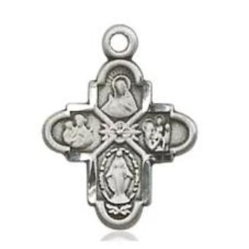 4 Way Medal - Sterling Silver - 5/8 Inch Tall x 3/8 Inch Wide