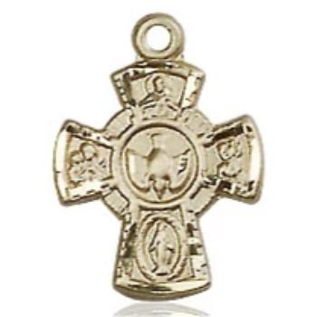 5 Way Medal - 14K Gold - 5/8 Inch Tall x 3/8 Inch Wide