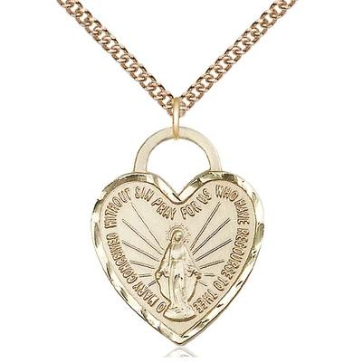 "Miraculous Medal Necklace - 14K Gold - 1 Inch Tall by 3/4 Inch Wide with 24"" Chain"