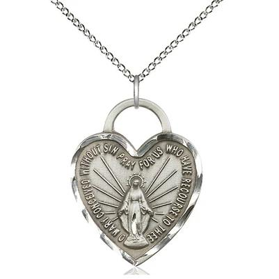 "Miraculous Medal Necklace - Sterling Silver - 1 Inch Tall by 3/4 Inch Wide with 18"" Chain"
