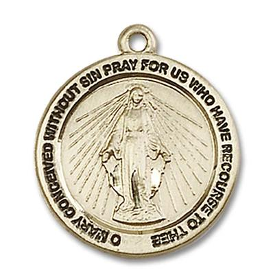 Miraculous Medal - 14K Gold Filled - 3/4 Inch Tall by 3/4 Inch Wide