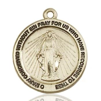 Miraculous Medal - 14K Gold - 3/4 Inch Tall by 3/4 Inch Wide