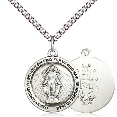 "Miraculous Medal Necklace - Sterling Silver - 3/4 Inch Tall by 3/4 Inch Wide with 24"" Chain"