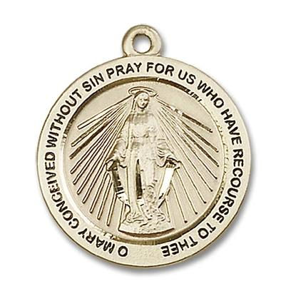 Miraculous Medal - 14K Gold Filled - 1 Inch Tall by 7/8 Inch Wide