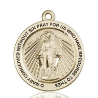 Miraculous Medal - 14K Gold - 1 Inch Tall by 7/8 Inch Wide