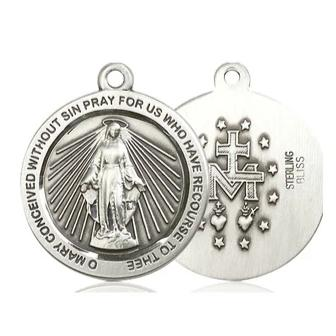 Miraculous Medal - Pewter - 1 Inch Tall by 7/8 Inch Wide
