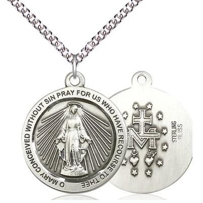 "Miraculous Medal Necklace - Sterling Silver - 1 Inch Tall by 7/8 Inch Wide with 24"" Chain"