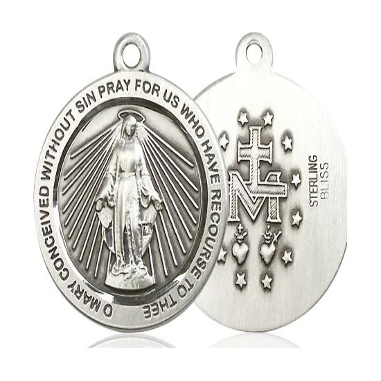 Miraculous Medal - Sterling Silver - 1 Inch Tall by 7/8 Inch Wide