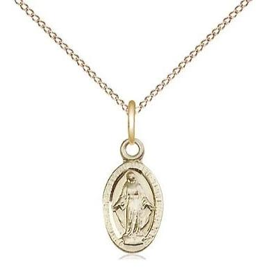 "Miraculous Medal Necklace - 14K Gold - 1/2 Inch Tall by 1/4 Inch Wide with 18"" Chain"