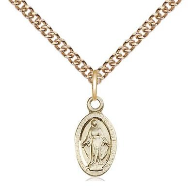 "Miraculous Medal Necklace - 14K Gold - 1/2 Inch Tall by 1/4 Inch Wide with 24"" Chain"