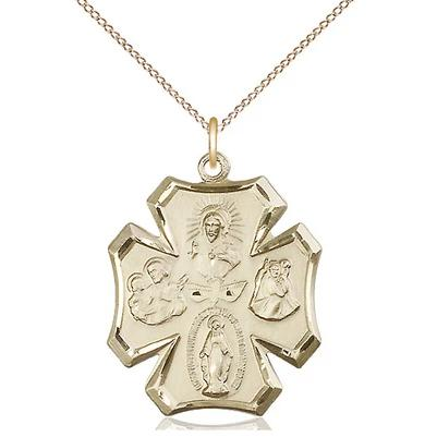 "4 Way Medal Necklace - 14K Gold Filled - 1 Inch Tall by 7/8 Inch Wide with 18"" Chain"