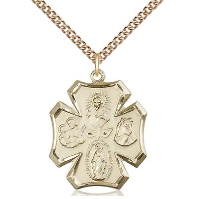 "4 Way Medal Necklace - 14K Gold Filled - 1 Inch Tall by 7/8 Inch Wide with 24"" Chain"
