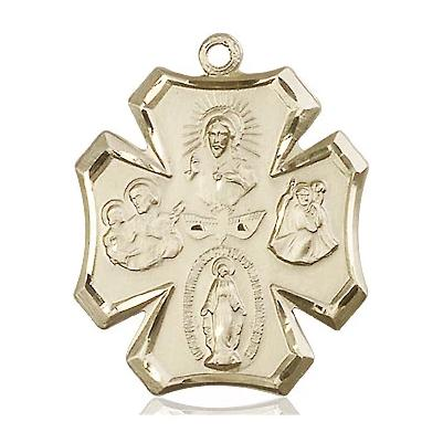 4 Way Medal - 14K Gold Filled - 1 Inch Tall x 7/8 Inch Wide