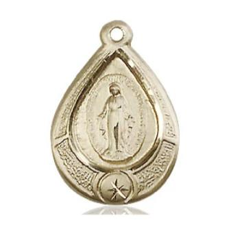 Miraculous Medal - 14K Gold Filled - 3/4 Inch Tall by 1/2 Inch Wide