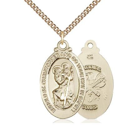 "St. Christopher National Guard Medal Necklace - 14K Gold - 1-1/8 Inch Tall x 3/4 Inch Wide with 24"" Chain"