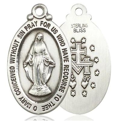 "Miraculous Medal Necklace - Sterling Silver - 1-1/8 Inch Tall by 5/8 Inch Wide with 24"" Chain"