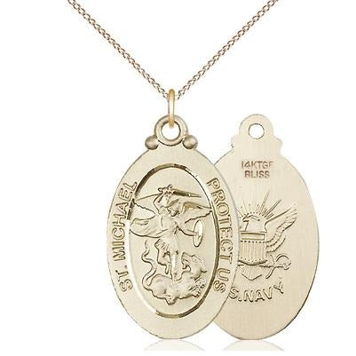 "St. Michael Navy Medal Necklace - 14K Gold Filled - 1-1/8 Inch Tall x 5/8 Inch Wide with 18"" Chain"
