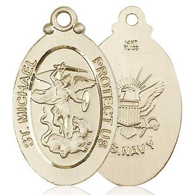 St. Michael Navy Medal - 14K Gold - 1-1/8 Inch Tall x 5/8 Inch Wide