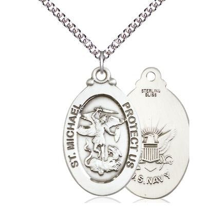 "St. Michael Navy Medal Necklace - Sterling Silver - 1-1/8 Inch Tall x 5/8 Inch Wide with 24"" Chain"