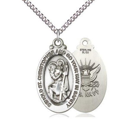 "St. Christopher Navy Medal Necklace - Sterling Silver - 1-1/8 Inch Tall x 3/4 Inch Wide with 24"" Chain"