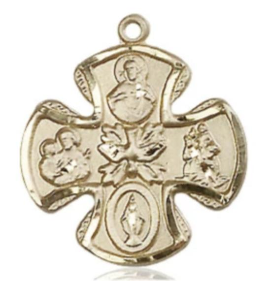 5 Way Medal - 14K Gold Filled - 3/4 Inch Tall x 3/4 Inch Wide