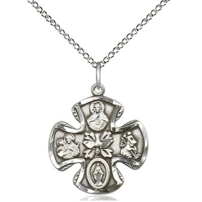 "5 Way Medal Necklace - Sterling Silver  - 3/4 Inch Tall by 3/4 Inch Wide with 18"" Chain"