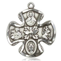 5 Way Medal - Sterling Silver - 3/4 Inch Tall x 3/4 Inch Wide