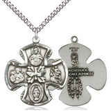 "5 Way Medal Necklace - Sterling Silver - 11/8 Inch Tall by 1 Inch Wide with 24"" Chain"