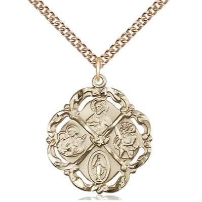 "5 Way Medal Necklace - 14K Gold Filled - 1 Inch Tall by 7/8 Inch Wide with 24"" Chain"