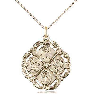 "5 Way Medal Necklace - 14K Gold - 1 Inch Tall by 7/8 Inch Wide with 18"" Chain"