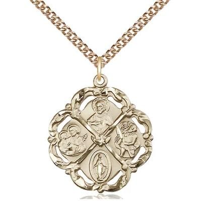 "5 Way Medal Necklace - 14K Gold - 1 Inch Tall by 7/8 Inch Wide with 24"" Chain"