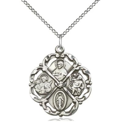 "5 Way Medal Necklace - Sterling Silver - 1 Inch Tall by 7/8 Inch Wide with 18"" Chain"