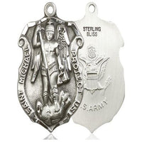 St. Michael Army Medal - Sterling Silver - 1-1/4 Inch Tall x 7/8 Inch Wide