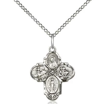 "4 Way Medal Necklace - Sterling Silver  - 3/4 Inch Tall by 5/8-Inch Wide with 18"" Chain"