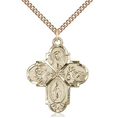 "4 Way Medal Necklace - 14K Gold Filled - 1 1/4 Inch Tall by 1-Inch Wide with 24"" Chain"