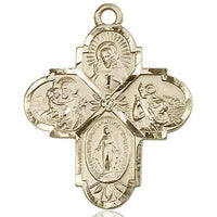 4 Way Medal - 14K Gold - 1 1/4-inch tall x 1-inch wide