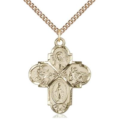 "4 Way Medal Necklace - 14K Gold - 1 1/4 Inch Tall by 1 Inch Wide with 24"" Chain"