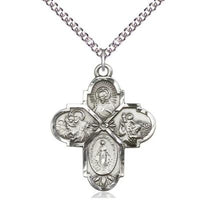 "4 Way Medal Necklace - Sterling Silver - 11/4 Inch Tall by 1 Inch Wide with 24"" Chain"