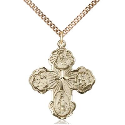 "5 Way Medal Necklace - 14K Gold Filled - 1-1/4 Inch Tall by 1 Inch Wide with 24"" Chain"