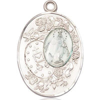 Miraculous Medal - Sterling Silver - 1-3/8 Inch Tall by 7/8 Inch Wide